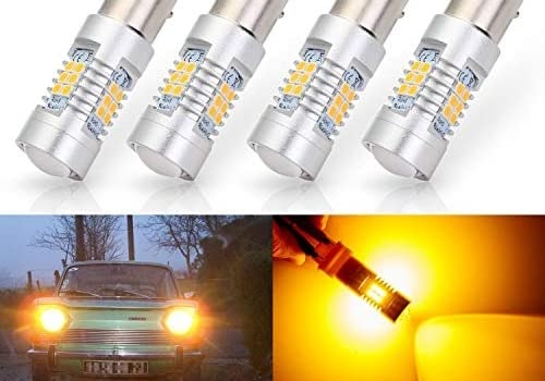 ANTLINE Extremely Bright 1157 1157NA 2057 2357 7528 2357A BAY15D 21-SMD 2835 Chipsets 1260 Lumens LED Bulb Replacement Amber Yellow for Car Turn Signal Blinker Side Marker Lights Bulbs (Pack of 4)