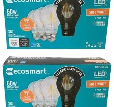 EcoSmart 60-Watt Equivalent A19 Dimmable Clear Filament Vintage Style LED Light Bulb, Soft White (8-Pack)