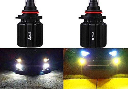 Alla Lighting 8000LM H10 9145 9005 LED Switchback Bulbs, Fog Lights or High, Low Beam Conversion Kits Forward Lighting 6000K Xenon White/3000K Yellow Dual Color Replacement Extreme Bright