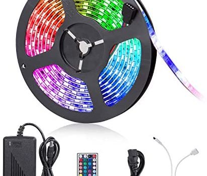 Led Strip Lights, 16.4ft 300 LEDs Waterproof Flexible Color Changing RGB 5050 LED Light Strip with Remote Control and 12V Power Supply, LED Lights for Bedroom Home Kitchen Indoor Outdoor Decoration
