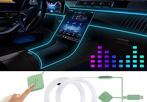 Car Led Strip Lights,Interior Car Lights,Ambient Led Lighting Kit With RGB 16 Million Colors Fiber Optics&Music Sync Rhythm,USB Neon Light Car Accessories for Center Console&Dashboard,Upgraded Version
