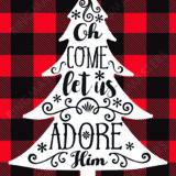 Oh Come Let Us Adore Him Christmas Card Plaid
