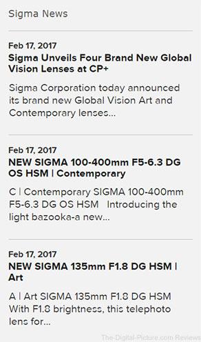 Sigma News on SigmaPhoto