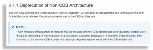 non-CDB deprecated in Oracle 12.1.0.2