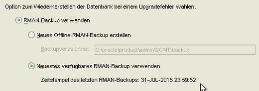 DBUA Restore Backup