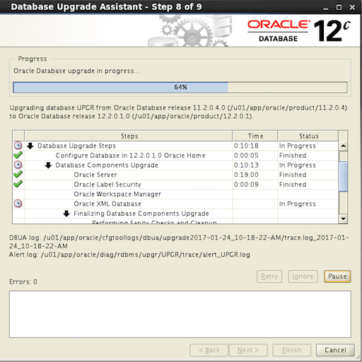 DBUA Oracle 12.2 - upgrade failure scenario