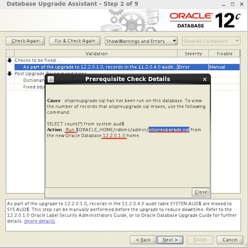DBUA Database Selection Oracle 12.2
