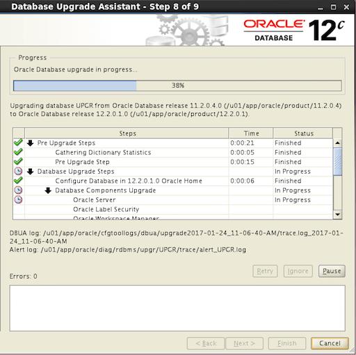 Oracle 12.2 DBUA Database Upgrade