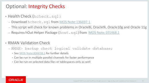 MOS Note:136697 1 - New HCHECK SQL for Oracle Database 12c – Upgrade