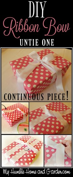 DIY Ribbon Bow - untie one continuous piece! on MyHumbleHomeandGarden.com