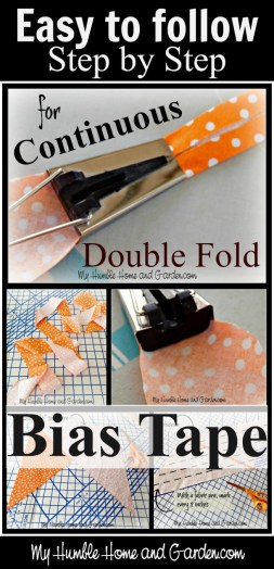 Step by Step Directions For Making Continuous Double Fold Bias Tape on MyHumbleHomeandGarden.com