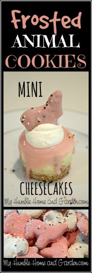 Frosted Animal Cookie Mini Cheesecakes on MyHumbleHomeandGarden.com
