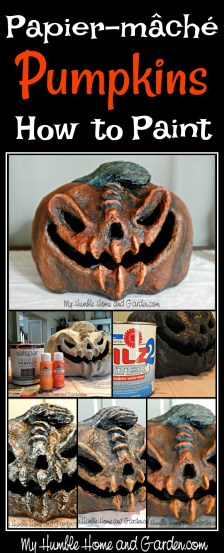 Papier-mâché Pumpkins - how to paint on MyHumbleHomeandGarden.com