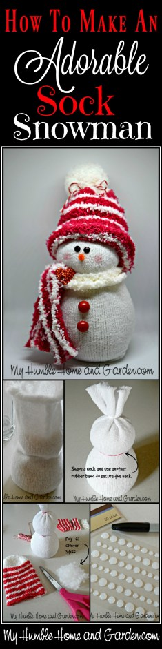 How To Make An Adorable Sock Snowman! on MyHumbleHomeandGarden.com