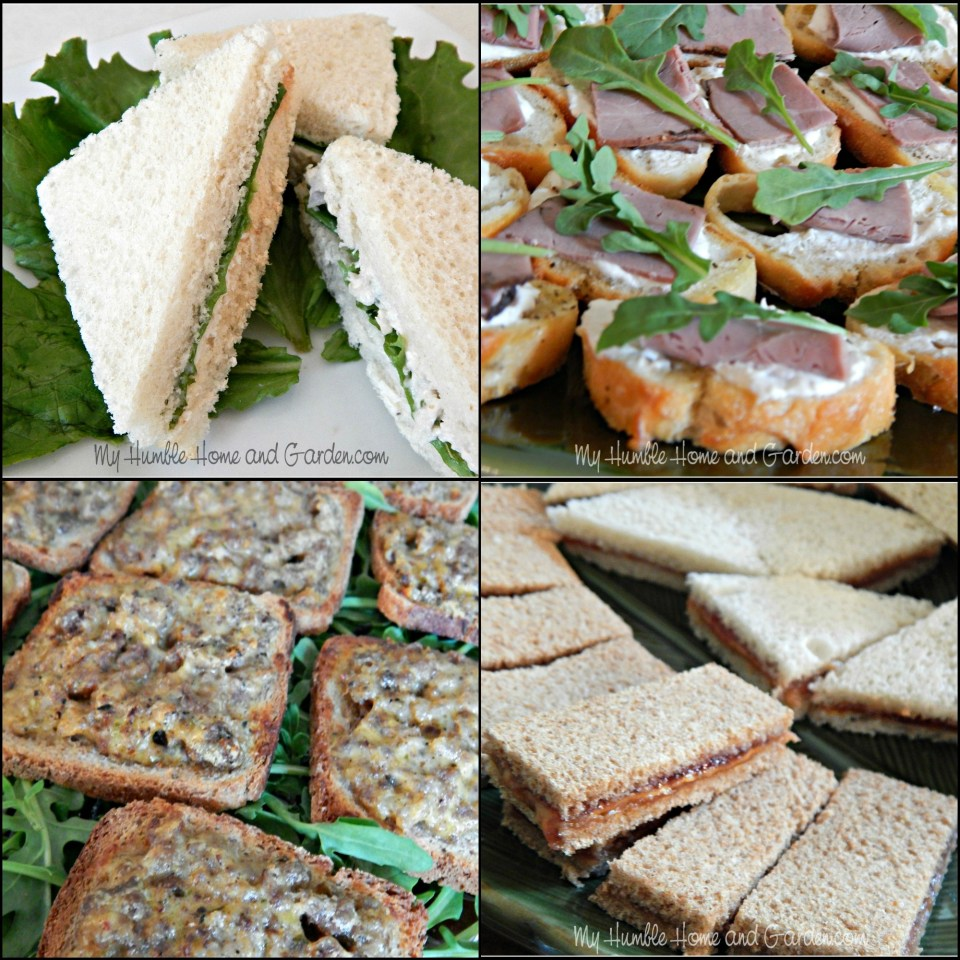 4 little sandwiches perfect for a lovely bridal shower