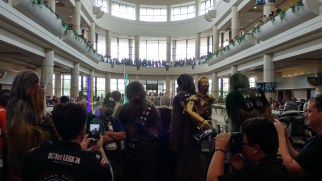 "The Wookiees were assembling to join the giant ""heroes"" cosplay shot on the front stairs"