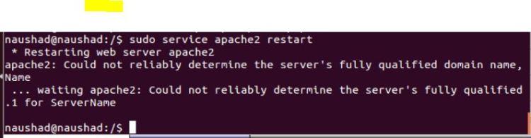 restart apache2 from command line1