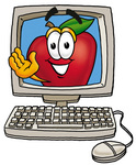 0025-0803-0817-2708_clip_art_graphic_of_a_red_apple_cartoon_character_waving_from_inside_a_computer_screen