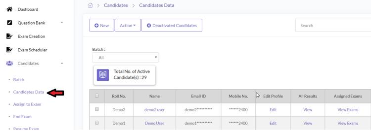 online exam candidates management