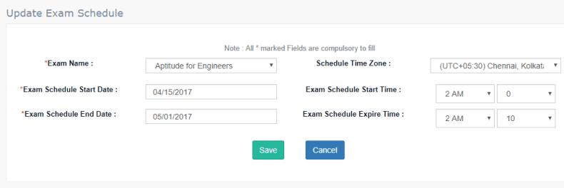 Update online Exam Schedule