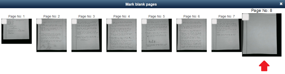 Blank page identification during onscreen evaluation process