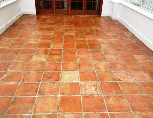 Abused Terracotta Conservatory Tiled Floor Kidlington After