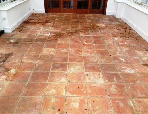 Abused Terracotta Conservatory Tiled Floor Kidlington Before