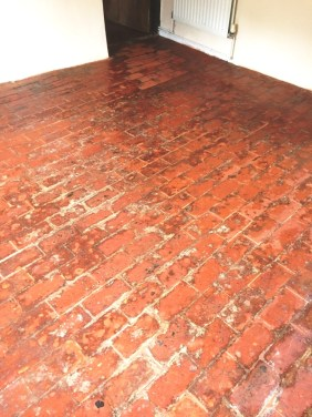 100 Year Old Brick Floor After Cleaning