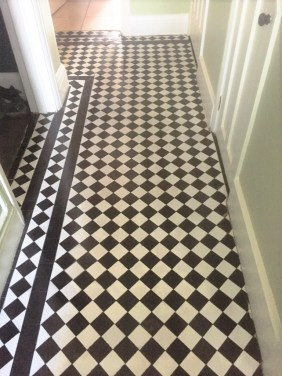 Chequered Victorian Hallway Floor Tile Before Restoration Oxford