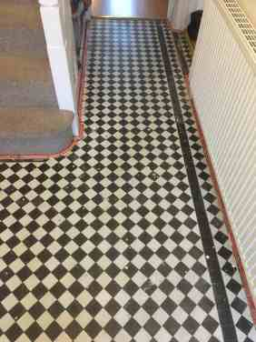 Chequered Victorian tiled hallway Floor Oxford Before Restoration
