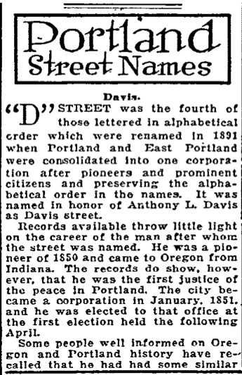 Portland Street Names - October 07, 1921 - Davis