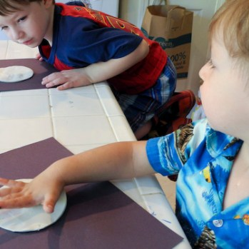 Step 2: Cut circles out of clay (Find a large glass or round bowl to use as a cookie cutter.
