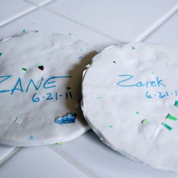 Step 5: (Optional) This is a wonderful keepsake craft. I flipped ours over and wrote the boys names on them and the date.