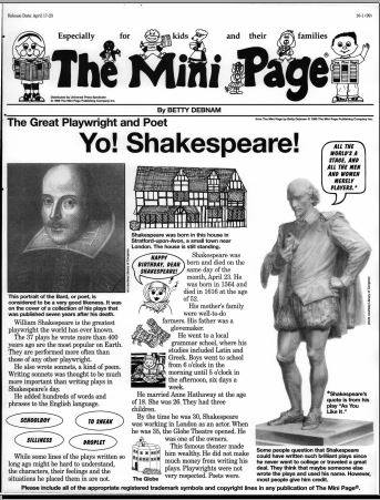 mini page archive shakespeare