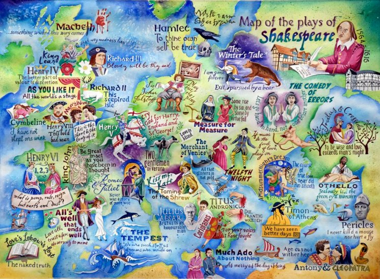 Map of the plays of Shakespeare - Shakespeare artwork
