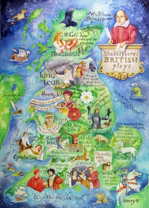 Map of Shakespeare's British Plays - Shakespeare artwork