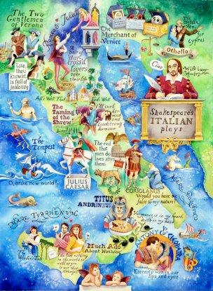 Map of Shakespeare's Italian Plays - Shakespeare artwork