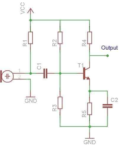Combination or potential Divider Bias microphone amplifier