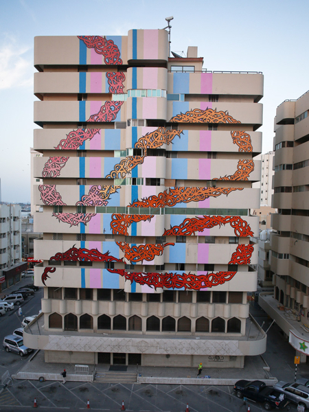Graffiti artwork by Elseed in Sharjah's Bank street, the artwork was coordinated by Shurooq Investments & Maraya Center. Picture by John Falchetto in http://elseed-art.com
