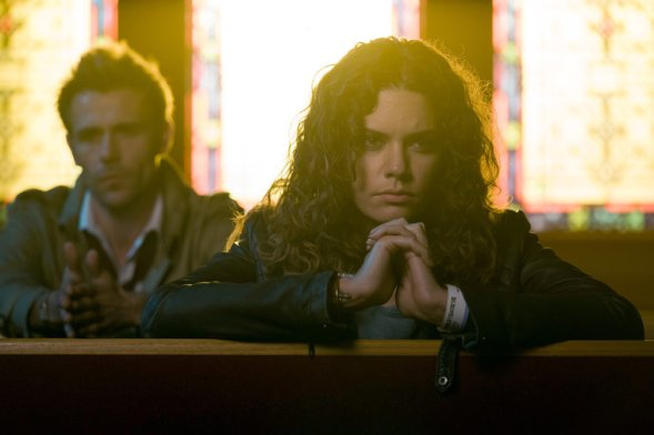 """CONSTANTINE -- """"Angels and Ministers of Grace"""" Episode 112 -- Pictured: (l-r) Matt Ryan as John Constantine, Angelica Celaya as Zed Martin -- (Photo by: Tina Rowden/NBC)"""