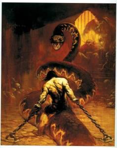 "Conan vs. a giant freaking snake in ""The Scarlet Citadel"" (1933)"