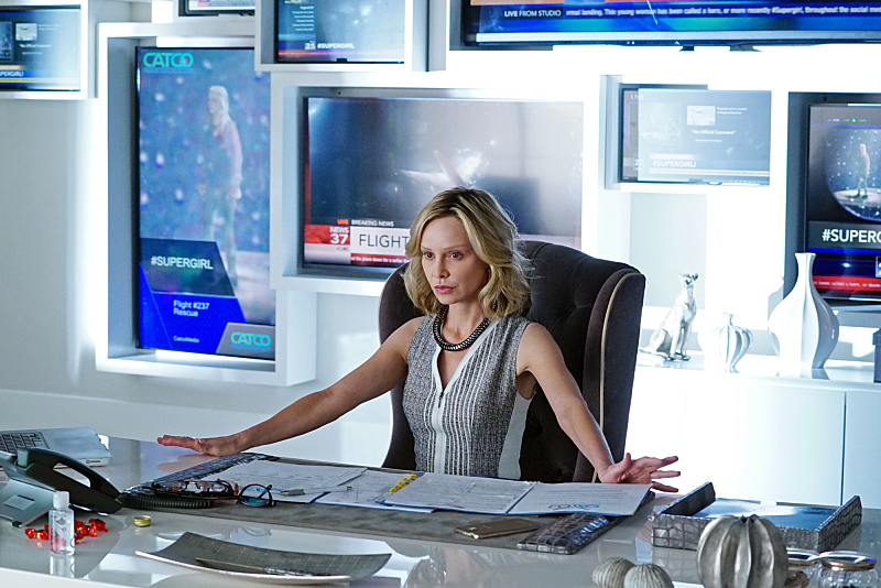 """""""Pilot"""" -- After 12 years of keeping her powers a secret on Earth, Kara Zor-El, Superman's cousin, decides to finally embrace her superhuman abilities and be the hero she was always meant to be, on the series premiere of SUPERGIRL, Monday, Oct. 26 (8:30-9:30 PM, ET/PT), on the CBS Television Network. The series moves to its regular time period (8:00-9:00 PM) on Monday, Nov. 2. Pictured: Calista Flockhart as Cat Grant Photo: Richard Cartwright/CBS ©2015 CBS Broadcasting, Inc. All Rights Reserved"""