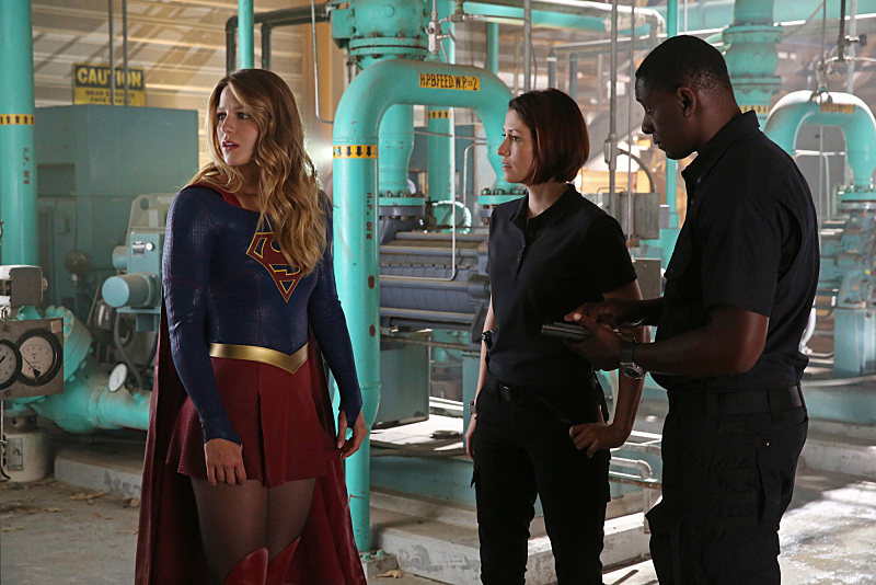 """Stronger Together"" -- When Kara's attempts to help National City don't go according to plan, she must put aside the doubts that she -- and the city's media -- has about her abilities in order to capture an escapee from the Kryptonian prison, Fort Rozz, when SUPERGIRL moves to its regular time period, Monday, Nov. 2 (8:00-9:00 PM, ET/PT) on the CBS Television Network. Pictured left to right: Melissa Benoist, Chyler Leigh and David Harewood Photo: Cliff Lipson/CBS ©2015 CBS Broadcasting, Inc. All Rights Reserved"