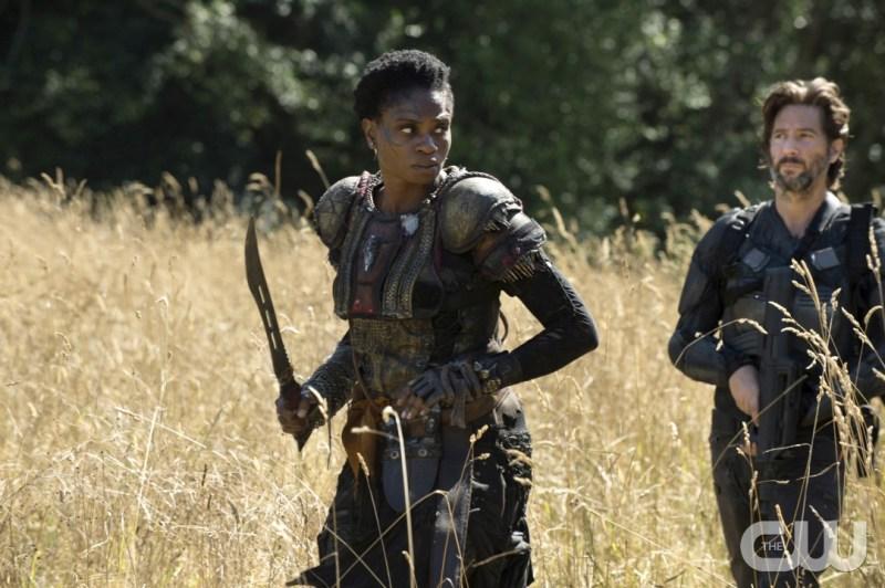 Adina Porter as Indra and Henry Ian Cusick as Kane (Cate Cameron/The CW)