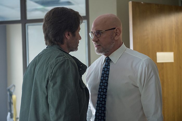 THE X-FILES: L-R: David Duchovny and Mitch Pileggi.