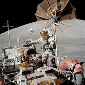 Apollo 17 commander Eugene Cernan with the lunar rover in December 1972, in the moon's Taurus-Littrow valley. Credit- NASA