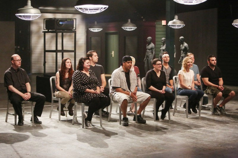 """FACE OFF -- """"Covert Characters"""" Episode 1004 -- Pictured: (l-r) Robert Lindsay, Yvonne Cox, Katie Kinney, Johnny Leftwich, Samuel """"Njoroge"""" Karumba, Melanie Licata, Kaleb Lewis, Anna Cali, Rob Seal, Walter Welsh -- (Photo by: Jordin Althaus/Syfy)"""