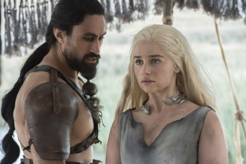 Pictured: Joe Naufahu as Khal Moro and Emilia Clarke as Daenerys Targaryen (Macall B. Polay/HBO)