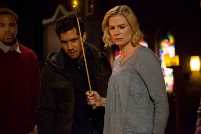 """GRIMM -- """"The Believer"""" Episode 516 -- Pictured: (l-r) Walter Perez as Benjamin McCullough, Melinda Page Hamilton as Joan Vark -- (Photo by: Scott Green/NBC)"""