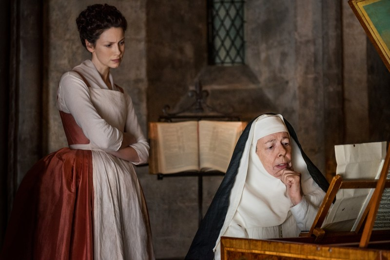 Claire watching Mother Hildegarde (Frances de la Tour) speak complete perfect English that, to me, was complete gibberish.